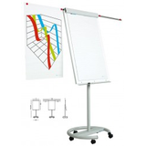 Smit Visual Supplies Flipchart magnetic, 105 x 70 cm, cu brate laterale, cu rotile, SMIT Vario